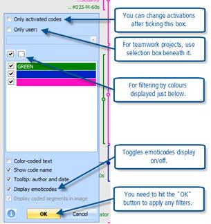 Figure 8.3.2 – Context menu for codes margin – filtering options