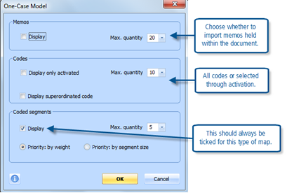 Figure 8.3.5 – One-case model import options in MAXMaps